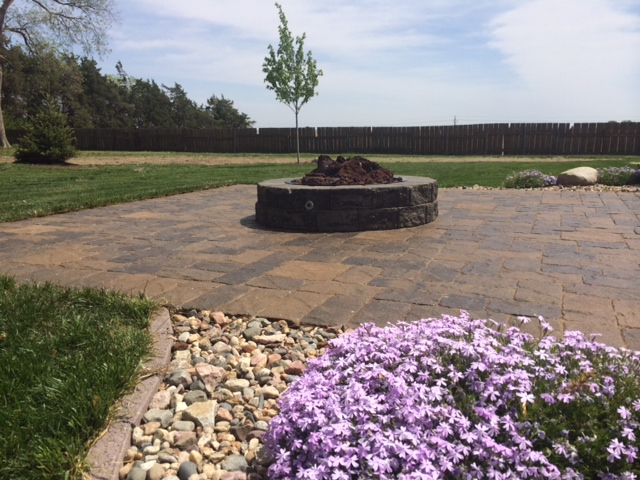 Fire pit and patio with rockbed