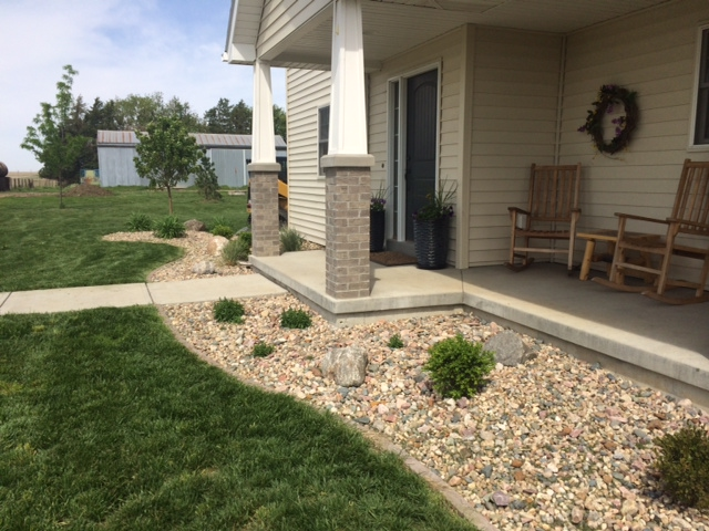 Rockbed installation in front of home