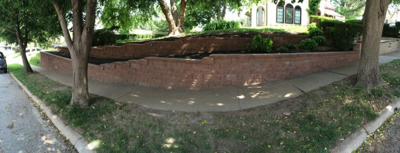 retaining wall in front yard panoramic